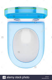 Modern Toilet by Top View Of Modern Toilet Bowl With Blue Cover Stock Photo