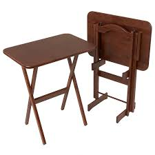 folding oversized wood tray table in espresso solid ash folding tv tray table set manchester wood