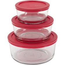 anchor hocking 6 piece glass kitchen food storage set with red