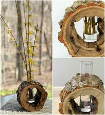 wood log vases 24 beautiful decorative wooden stump vases crafts for your