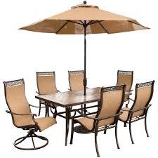 monaco dining table hanover monaco 7 piece rectangular patio dining set and 2 swivel