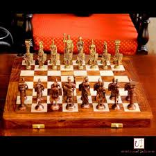 buy unravel india roman brass chess set with wooden board online