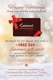 gift card specials savonasgiftcardpromosm savona s trattoria