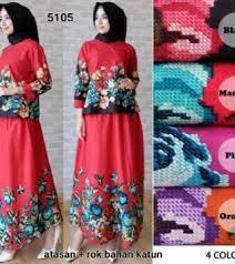Baju Atasan Rok Levis grosir baju atasan set rok katun bangkok motif bunga g5105 terlaris
