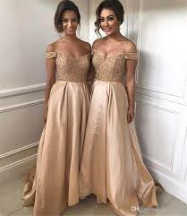 bridesmaid dresses 2018 gorgeous gold bridesmaid dresses shoulder sweep