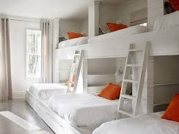 Built In Bunk Bed Plans Country Bunk Room Features A Shiplap Walls Lined With A Wall Of