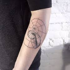 linework style black ink simple nautilus tattoo on forearm