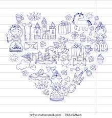 set doodle princess fantasy icon design stock vector 768492589