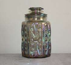 glass kitchen storage canisters imperial glass atterbury scroll iridescent carnival glass canister