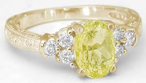 vintage fashion rings images Antique style yellow sapphire ring with carved band in 14k yellow jpg