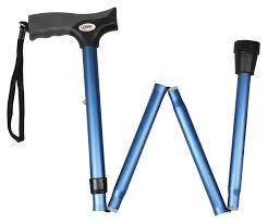carex walking aids carex soft grip derby folding cane blue