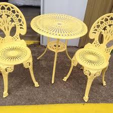 Best Yellow Outdoor Patio Furniture  Piece Metal Bistro Set For - Yellow patio furniture