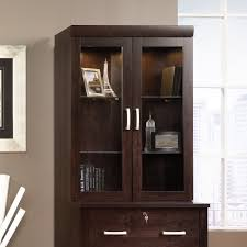 Display Hutch Office Port Hutch With Glass Doors 408294 Sauder