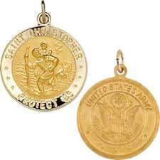 religious pendants christopher and us army 14k gold religious pendant 18mm in