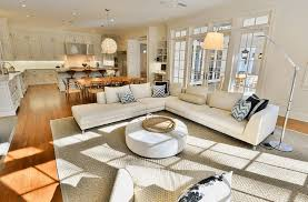 building a sectional sofa chic and trendy open floor plan kitchen with white counters and