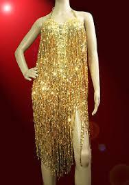 gold samba latin salsa ballroom sequin shiny fringe dance dress
