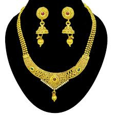 colored necklace set images Temple designed colored stone and gold plated necklace earring jpg