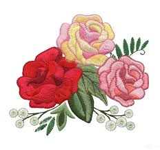 colored roses embroidery design