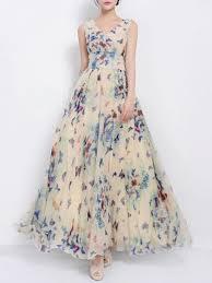 chiffon maxi dress v neck butterfly printed chiffon maxi dress fashionmia