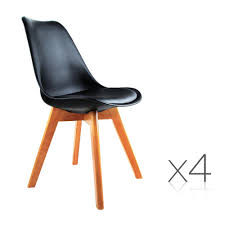 4 x black pu leather replica eames eiffel dsw dining chairs beech