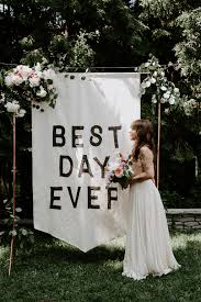 wedding backdrop banner backyard wedding at home with a banner backdrop ruffled