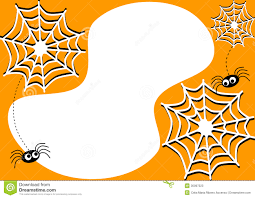 invitation card with halloween spiders and cobwebs stock photos
