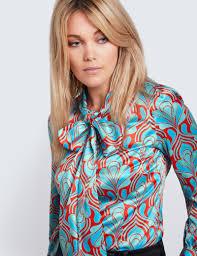 women u0027s red u0026 blue retro geometric print fitted satin blouse