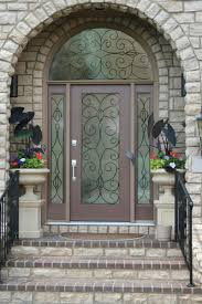sweet brown wood lighted masonite exterior entry doors design