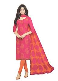 pink combination avantika special chanderi dress material embroidered orange in