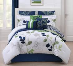 beauteous bedroom design with navy white green comforter set and