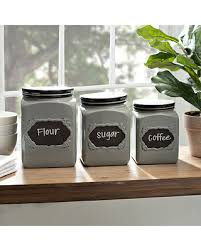 kitchen canisters set here s a great deal on gray chalkboard kitchen canisters set of 3