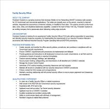 Facility Security Officer Resume Security Officer Job Description Template U2013 13 Free Word Pdf