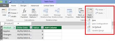 table tools design tab automatically generating date dimension tables in excel 2016 power pivot