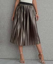 pleated skirt metallic pleated skirt gold plain women damart