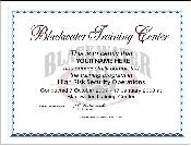 blackwater certificate of training