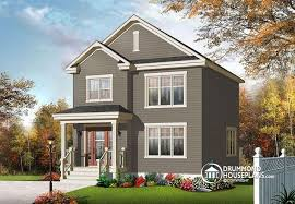 narrow lot 2 story house plans house plan w3709 v1 detail from drummondhouseplans