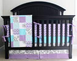 Purple And Teal Crib Bedding Custom Baby Bedding Aqua Purple And Grey Crib Bedding Oh