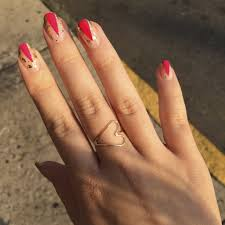 graphic gold and pink nail art popsugar beauty