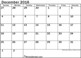 december 2016 calendar canada