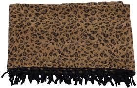 60x50 u201d hand woven throw blanket in velvet u0026 cotton with leopard