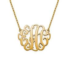 Gold Plated Monogram Necklace Monogram Necklace Pendant Monogram Pendant Necklace Monogram