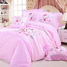 Polka Dot Comforter Queen Amazon Com Mbm Tm Hello Kitty Bedding Set Pink Princess Bedding