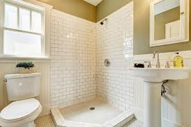 Bathroom With Open Shower Bathroom With Open Shower And Tile Wall Trim Stock Image Image