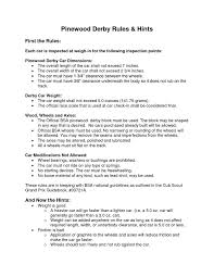 resume tips and exles pinewood derby prin pinewood derby doc pinewood