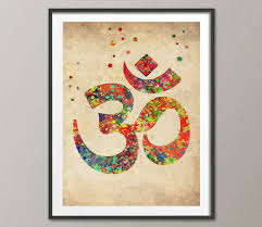 Yoga Home Decor by Vintage Ohm Symbol Watercolor Poster Ohm Yoga Watercolor Art Print
