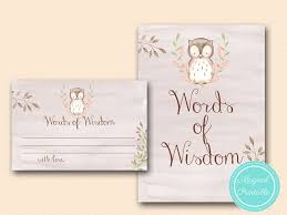 words of wisdom cards owl baby shower woodland magical printable