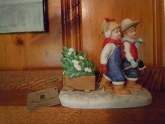 home interior denim days denim days figurine bringing home the tree w tag mint homco home