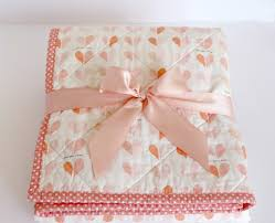 coral baby bedding pink heart whole cloth baby quilt coral