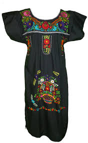 women u0027s mexican embroidered dress by campesina brand black at