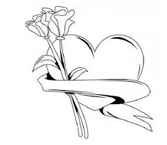 coloring pages of heart hearts and roses and stars drawings free download clip art